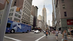 Empire State Building Manhattan New York City NYC Bus Intersection Crosswalk Stock Footage