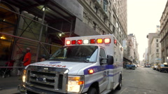 NYU Medical Center Ambulance Emergency Vehicle New York City NYC 4K Manhattan Stock Footage