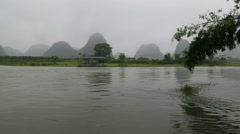 Misty karst landform,Li river, Stock Footage