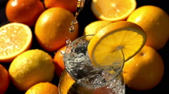 Mineral Soda with a Slice of Orange Stock Footage