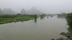 misty karst landform,Li river, - stock footage