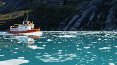 Stock Video Footage of Icebergs Global Warming Melting Frozen Mass Ecotourism Disko Bay