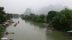 Misty karst landform,Li river,bamboo rafts, Stock Footage