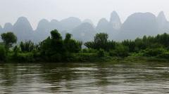 misty karst landform,Li river - stock footage