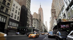 Empire State Building Manhattan 5th Ave New York City Taxis NYC Traffic 4K - stock footage