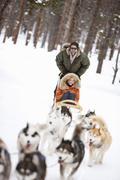 Couple Dog Sledding, Frisco, Summit County, Colorado, USA Kuvituskuvat