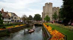 Westgate Bridge, River Stour, Canterbury, Kent, England Stock Footage
