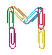 letter m with clips - stock illustration