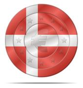 euro currency with denmark flag - stock illustration