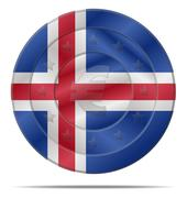 euro currency with iceland flag - stock illustration