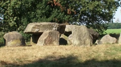Prehistoric Portal Tomb or Hunebed D50 medium shot + zoom out south side Stock Footage