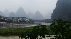 misty mountain, li river, yangshuo - stock footage