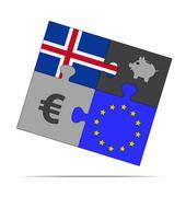 savings puzzle iceland - stock illustration