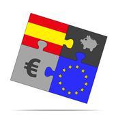 savings puzzle spain - stock illustration