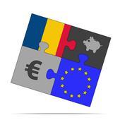 savings puzzle romania - stock illustration