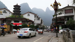 Traffic at yangshuo Stock Footage