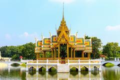 golden pavilion, bang pa-in palace in ayuthaya, thailand. - stock photo