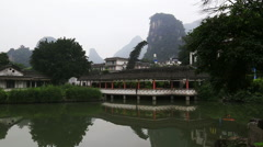 Misty mountain,garden,yangshuo Stock Footage