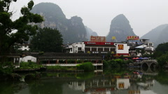 misty mountain,lake,yangshuo - stock footage