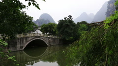 Misty mountain,bridge,yangshuo Stock Footage