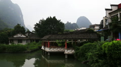 Pan,misty mountain,garden,yangshuo Stock Footage