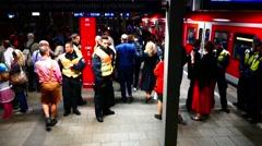 MUNICH BEER FESTIVAL Oktoberfest Octoberfest Policemen control protect Subway Stock Footage
