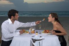 Couple Dining on Beach, Reef Playacar Resort and Spa, Playa del Carmen, Mexico Stock Photos