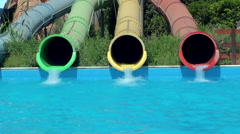 Stock Video Footage of Riding on the water slides at Sicily Etnaland waterpark.