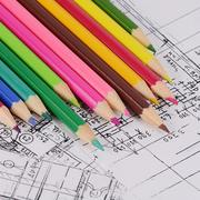 projects of houses with color pencil - stock photo