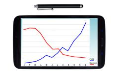 Tablet and stylus with profit graph Stock Illustration