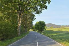 Country Road, Stormbruch, Diemelsee, Waldeck-Frankenberg, Hesse, Germany Stock Photos