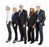 Stock Photo of team of confident civil engineer against white
