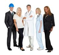 people of different professions together on white - stock photo