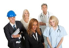 group of people in different professions - stock photo