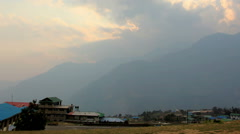 Timelapse sunset at the airport Lukla. Mountains Himalayas, Lukla village, Nepal Stock Footage