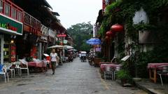 western street in yangshuo - stock footage