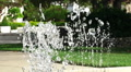 Slow Motion Dancing Drops Water From Fountain In Green Park Footage