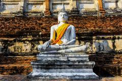 buddha statue in mongkol temple at ayutthaya thailand - stock photo