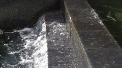 Waterfall Fountain - Stone Tile Stairs - Pool Of Water - Slow Motion 004 Stock Footage