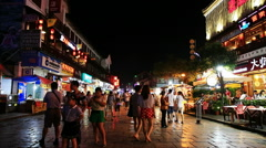 Western street,yangshuo, at night Stock Footage