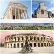 nimes monuments - stock photo