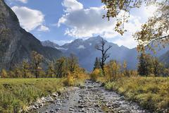 Mountain Stream in Autumn, Grosser Ahornboden, Karwendel, Tyrol, Austria - stock photo