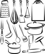 Illustration with a set of kitchen utensil - stock illustration