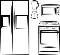 kitchen electronics - stock illustration