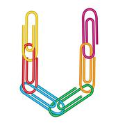letter u with clips - stock illustration