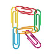 letter r with clips - stock illustration