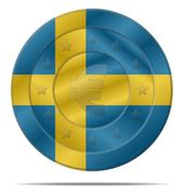 Euro currency with sweden flag Stock Illustration