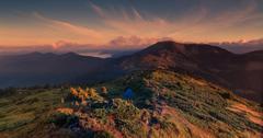 Sunset in carpathian mountains Stock Photos