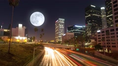 Commuter freeway city traffic downtown Los Angeles night 4K Timelapse hyperlapse Stock Footage