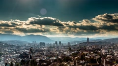 Stock Video Footage of Sunset over City Sarajevo time lapse 4k